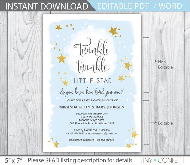 winkle twinkle little star invitation / twinkle twinkle little star baby shower…