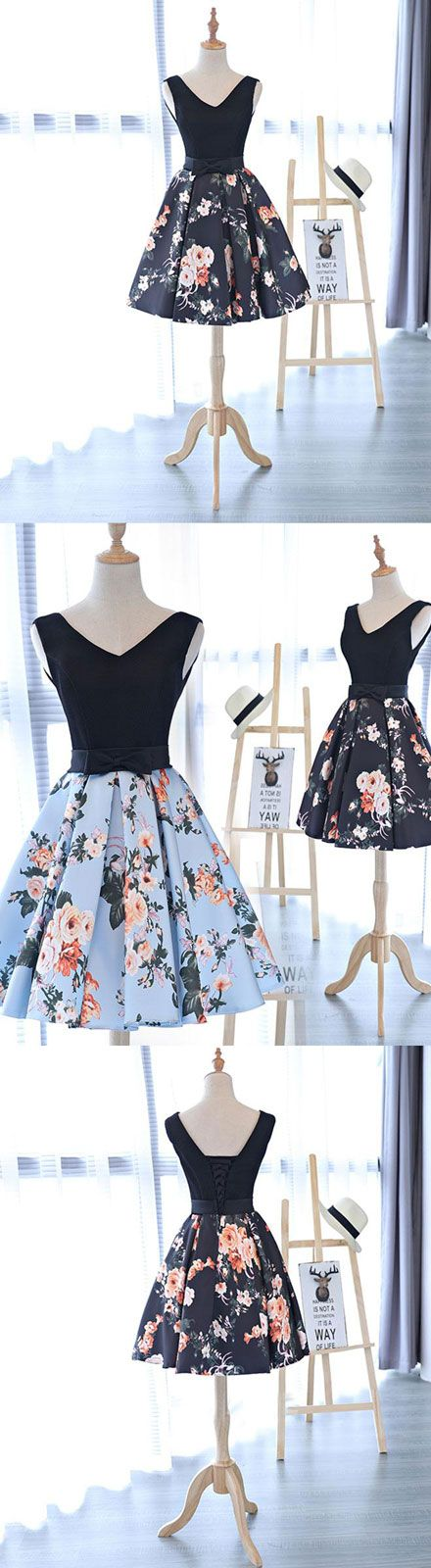 Cute v neck floral pattern short prom dress, homecoming dress ...