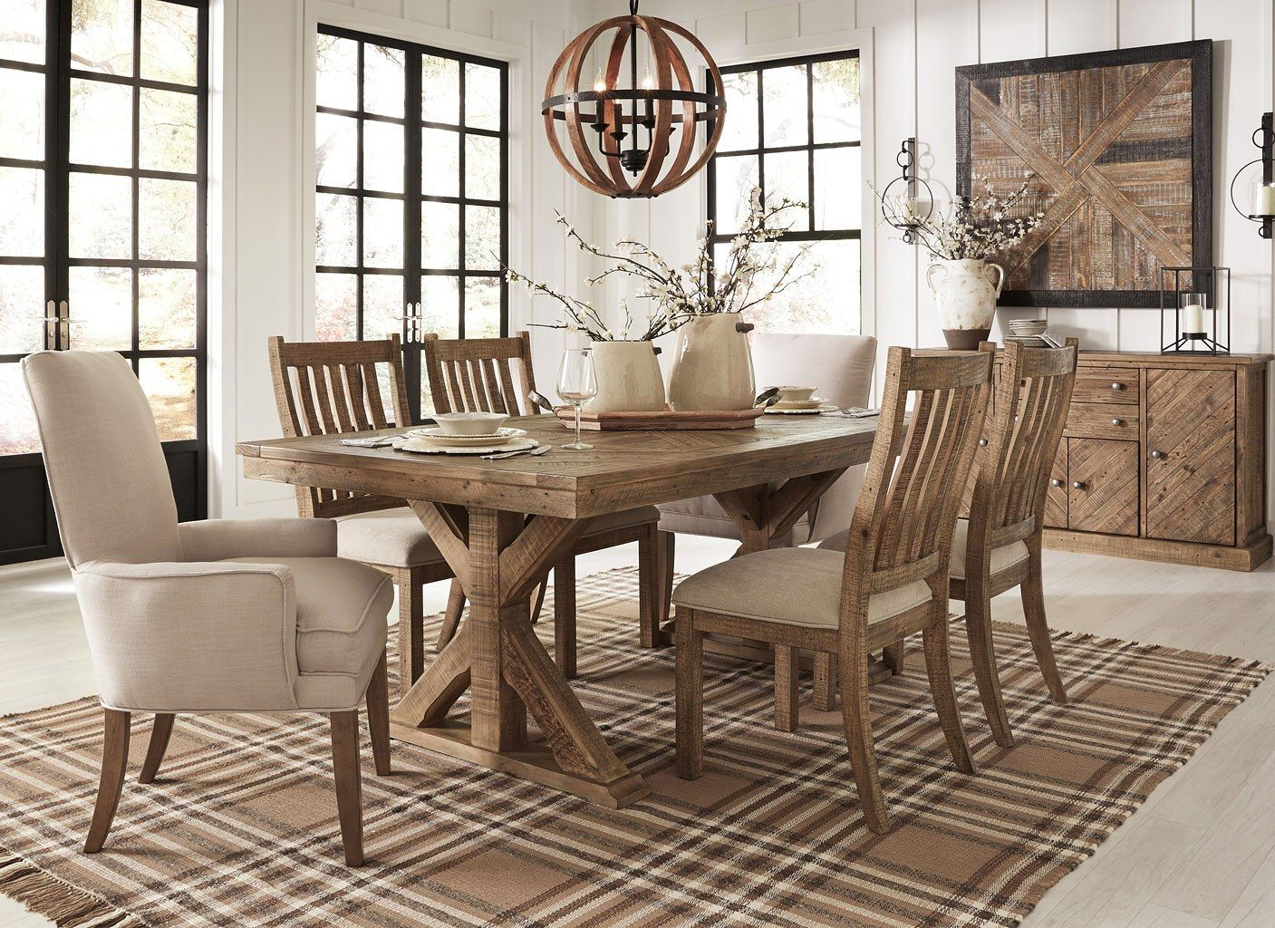 Grindleburg Dining Room Set W Light Brown Chairs Farmhouse