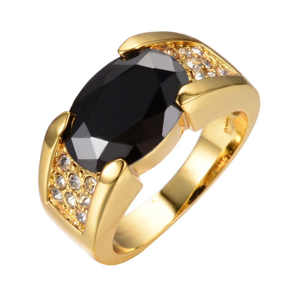 Luxury Engagement Jewelry Vintage Black Stone Ring Anel White CZ
