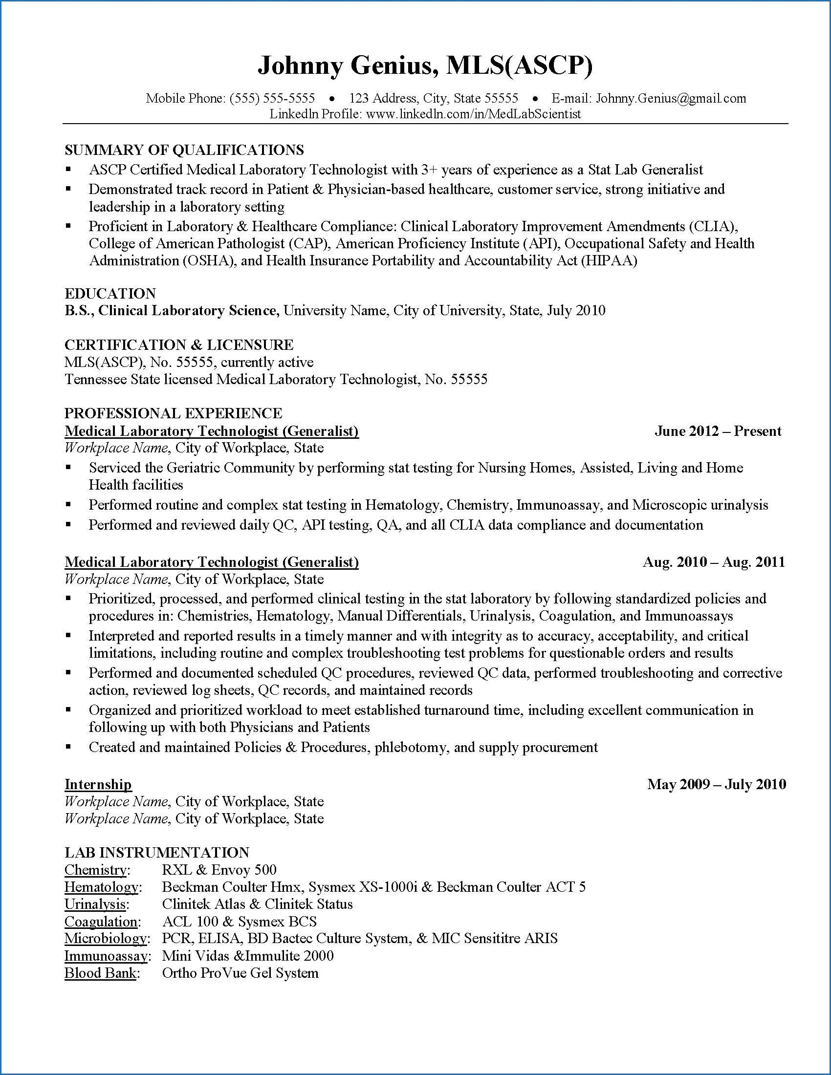 10 Sample Resume Medical Laboratory Scientist Check More At Https