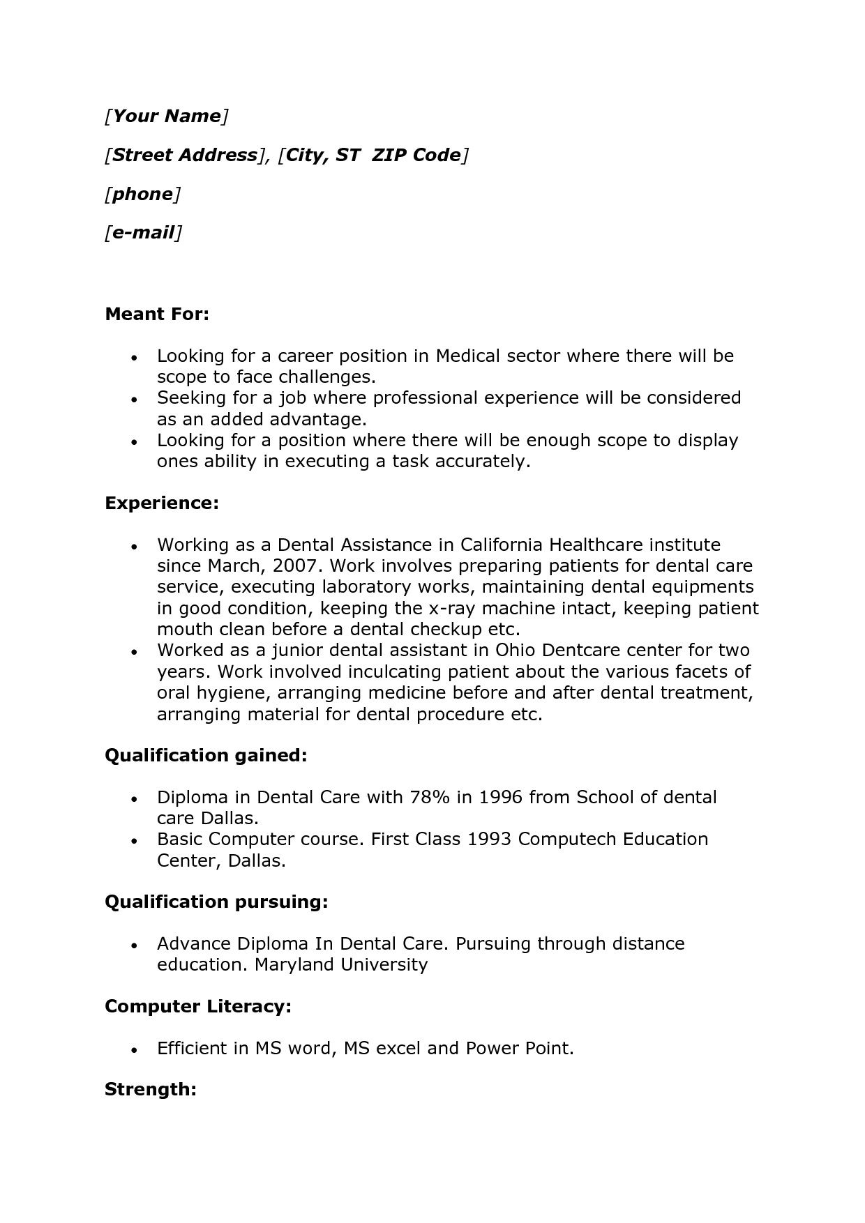 Resume Experience Example Job Resume No Experience Examples #919  Httptopresume
