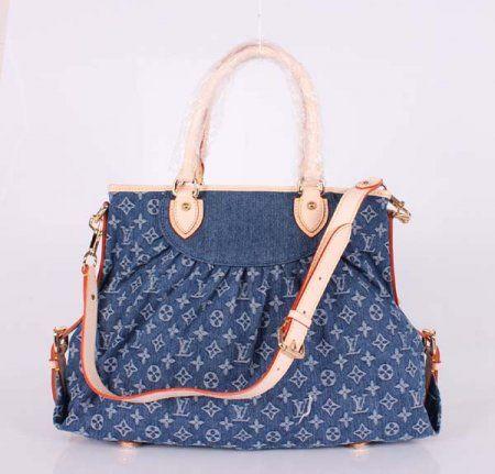 LV 2012 new fashion casual jeans female models bag handbag Messenger bag M95350 blue