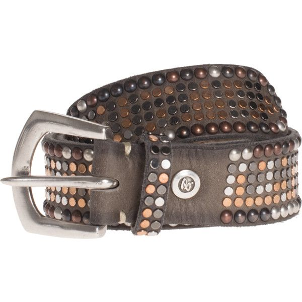 B.Belt Leather Stud Multi Brown // Leather belt with studs (€169) ❤ liked on Polyvore featuring accessories, belts, 100 leather belt, brown studded belt, genuine leather studded belt, studded belt and leather belt
