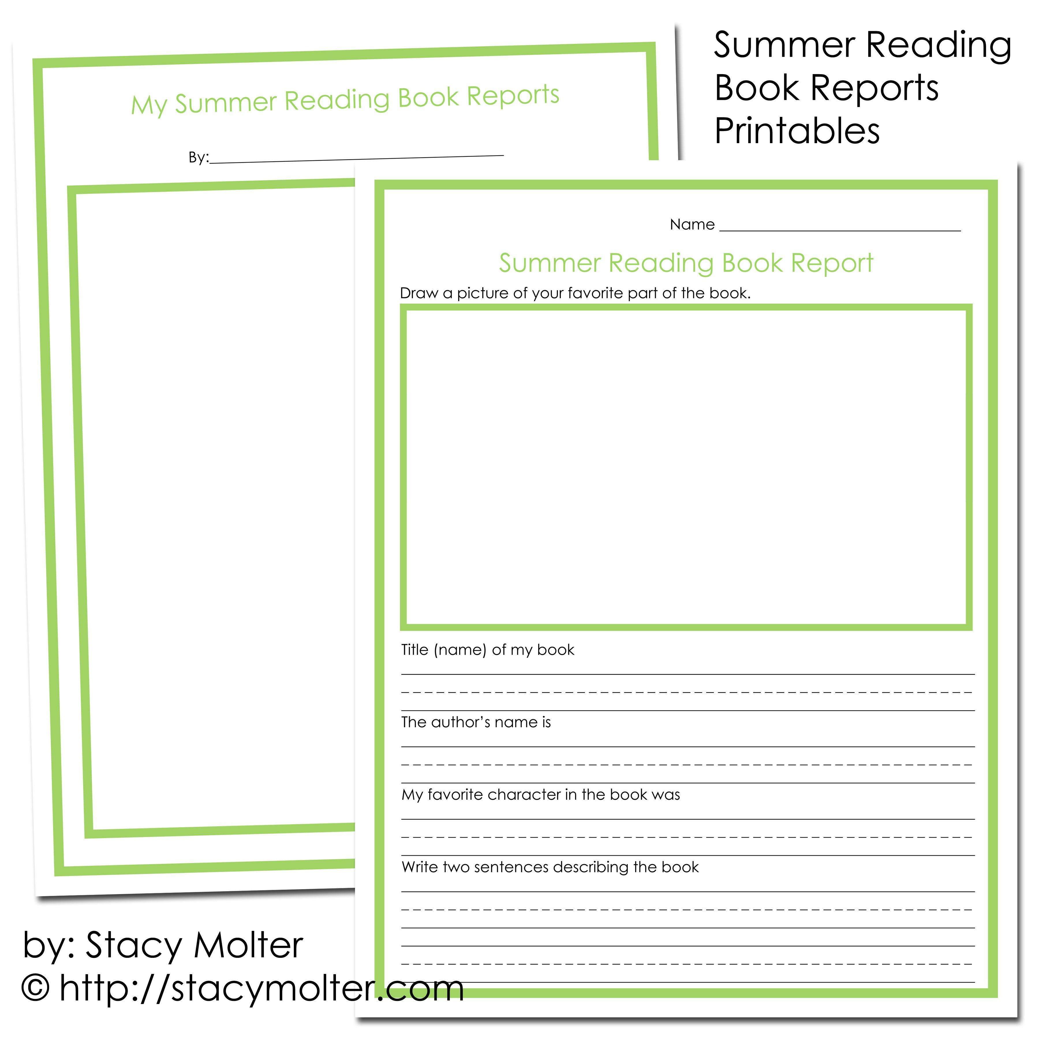 Summer Reading Book Reports Printables