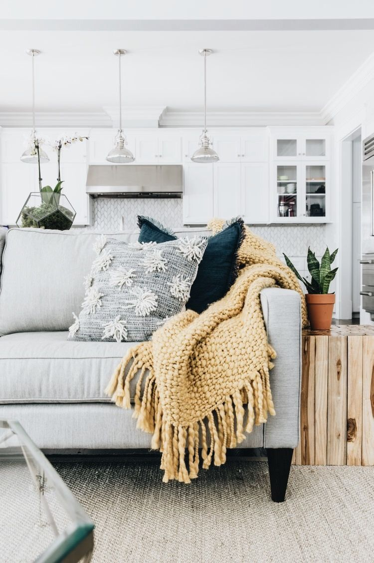 Textured cushions and blankets. Cozy living room decor ideas for a ...