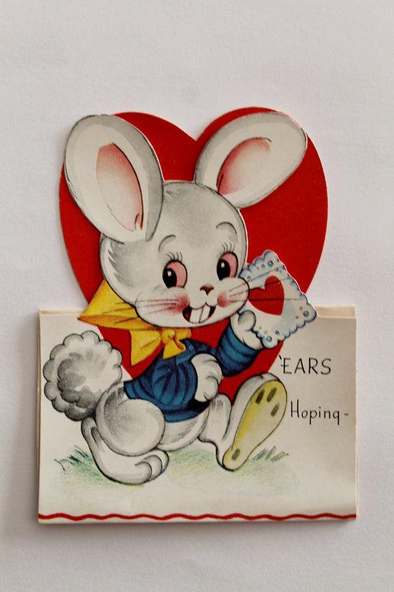vintage valentine card bunny rabbit americard