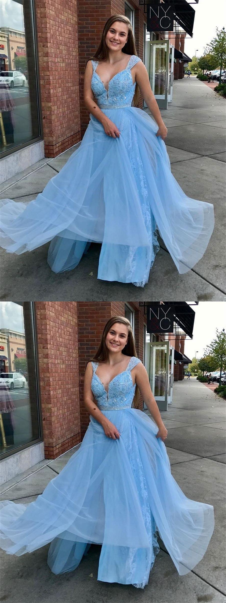 A Line Straps Floor Length Light Blue Prom Dress With Lace Beading Light Blue Prom Dress Prom Dresses Blue Blush Prom Dress [ 2408 x 904 Pixel ]