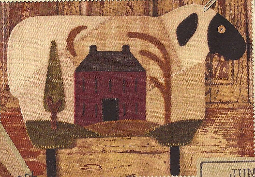 Primitive Folk Art Wool Applique Pattern:  JUNE -- SHEEP   (Wool Crazy Year). via Etsy.