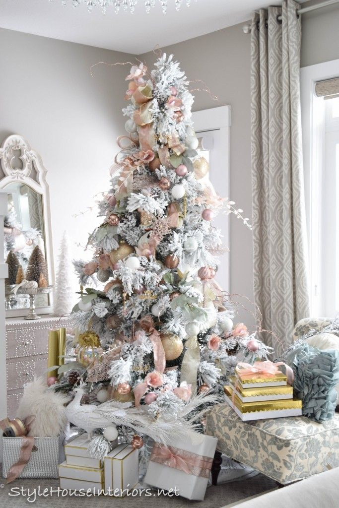 Masterbedroom Christmas Tour Rose Gold Christmas Tree In The Bedroom Christmas Table Decorations Rose Gold Christmas Tree Rose Gold Christmas