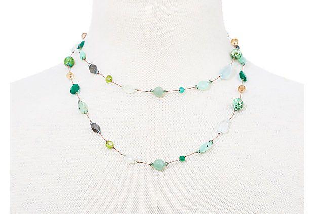 Long Green Multi-Stone Necklace on OneKingsLane.com