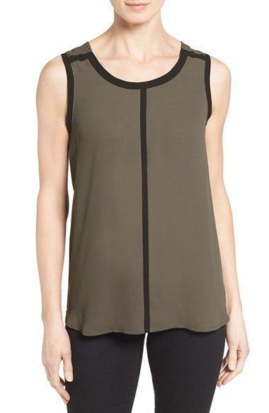 fcb8cacdc8a233 Pleione Womens Sleeveless Blouse with Contrast Trim Size Small #Pleione # Blouse