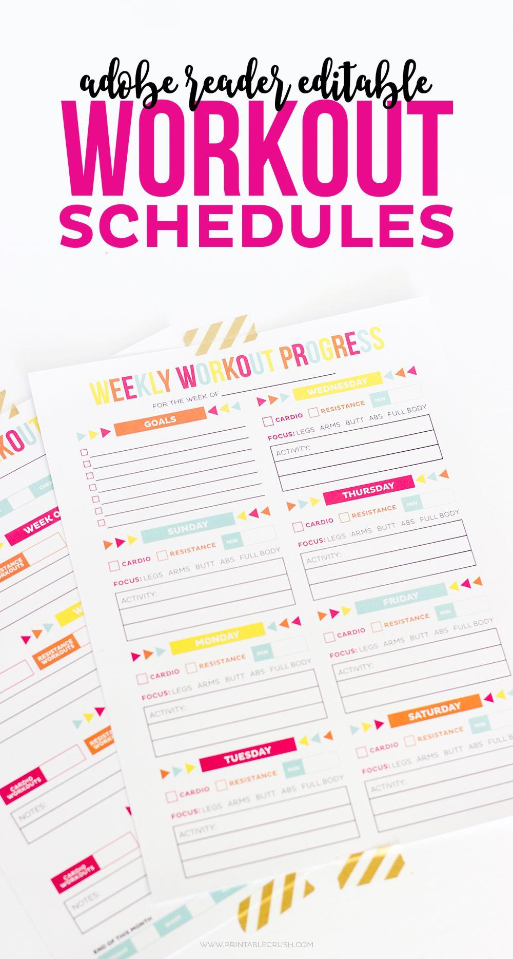 Editable printable workout schedule printable workouts