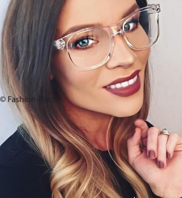ee6f561071 Hot Crystal Transparent Translucent Clear Frames Fashion Big Women  Eyeglasses L