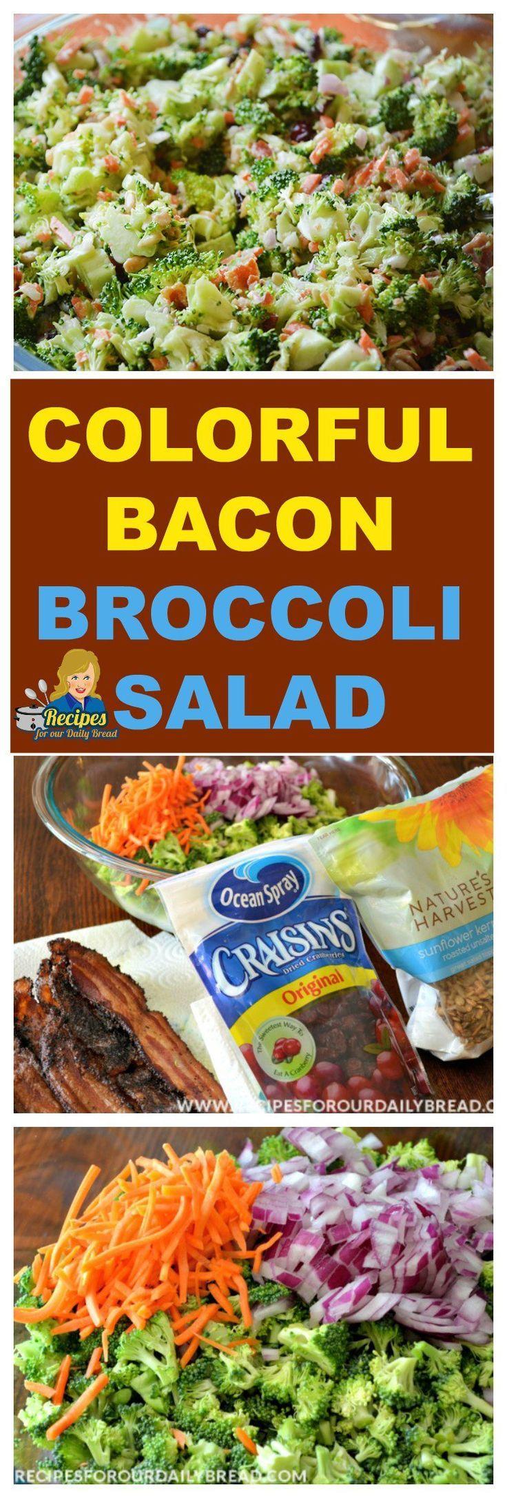 How to make awesome colorful broccoli salad with bacon  How to make awesome colorful bro...#Awesome