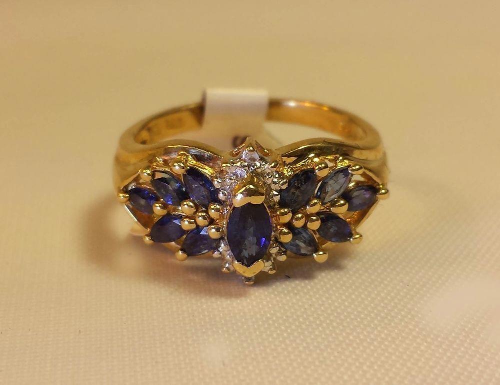 10k Yellow Gold Diamond Fine Blue Sapphire Cluster Ring 3 3 Gr Sz 6 5 Estate Withdiamondsgemstones Diamondjewelryindia Sapphire Ring Jewelry Diamond