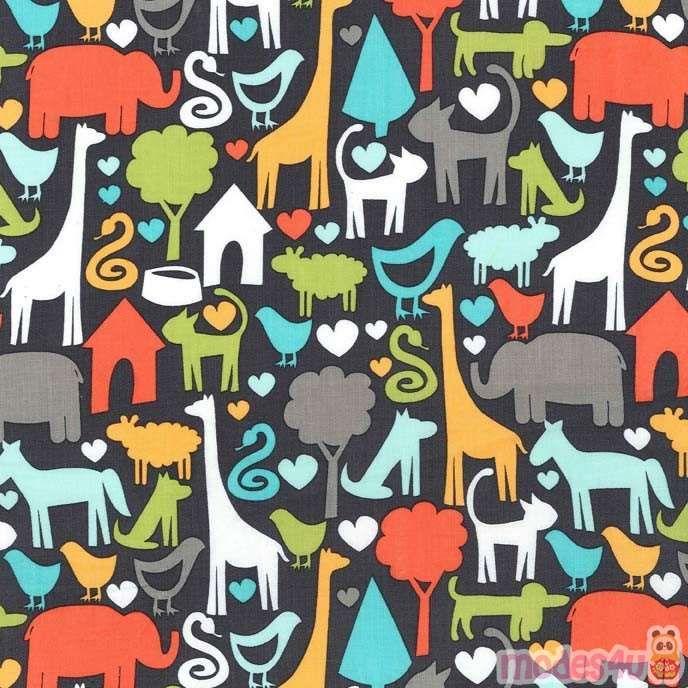 Dark Grey Michael Miller Fabric Colorful Cat Elephant