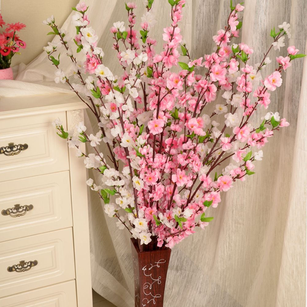 1 Pcs 50inch Artificial Cherry Spring Plum Peach Blossom Branch Silk