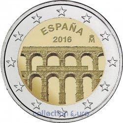 Moeda Comemorativa 2 Espanha 2016 Aqueduto De Segovia