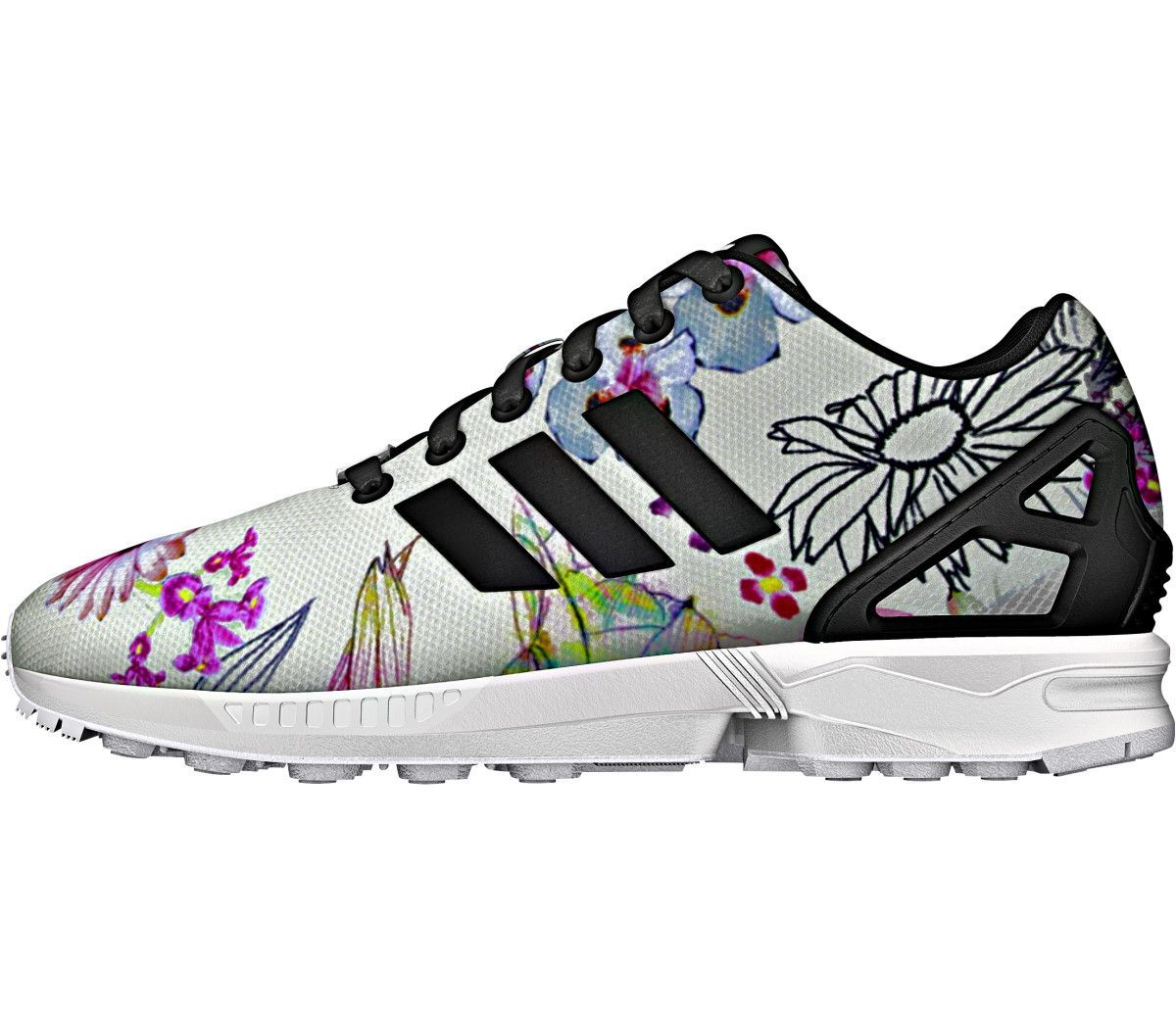 ZX Flux Shoes The updated lines of an iconic running shoe mix with a floral print inspired by Brazil. With ZX Flux, the graphic possibilities are endless. Designed in collaboration with Brazil's The F