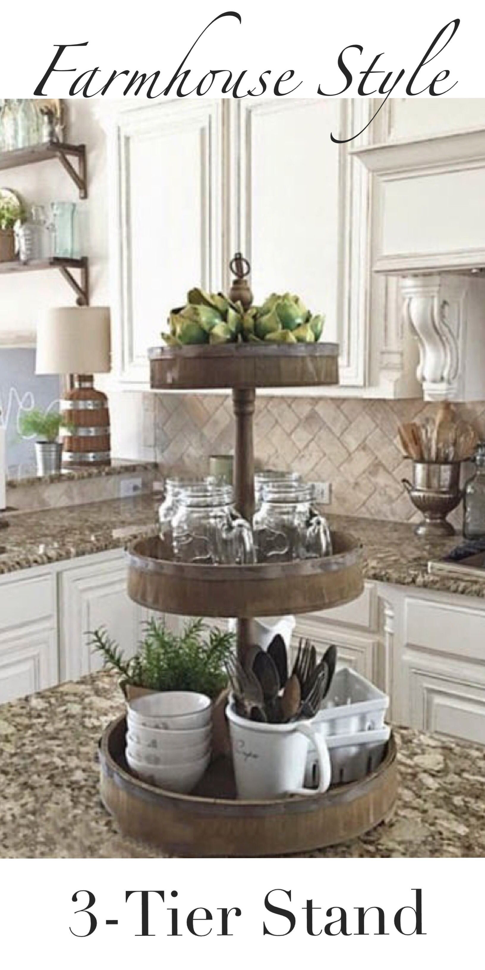 Farmhouse Style 3 Tier Wood Stand Ad Love This Style And This Look Great For The Kitchen Co Kitchen Design Decor Kitchen Island Decor Cottage Kitchen Design