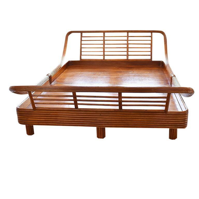 Mid Century Modern Bamboo Rattan Pretzel Queen Bed In The Style Of