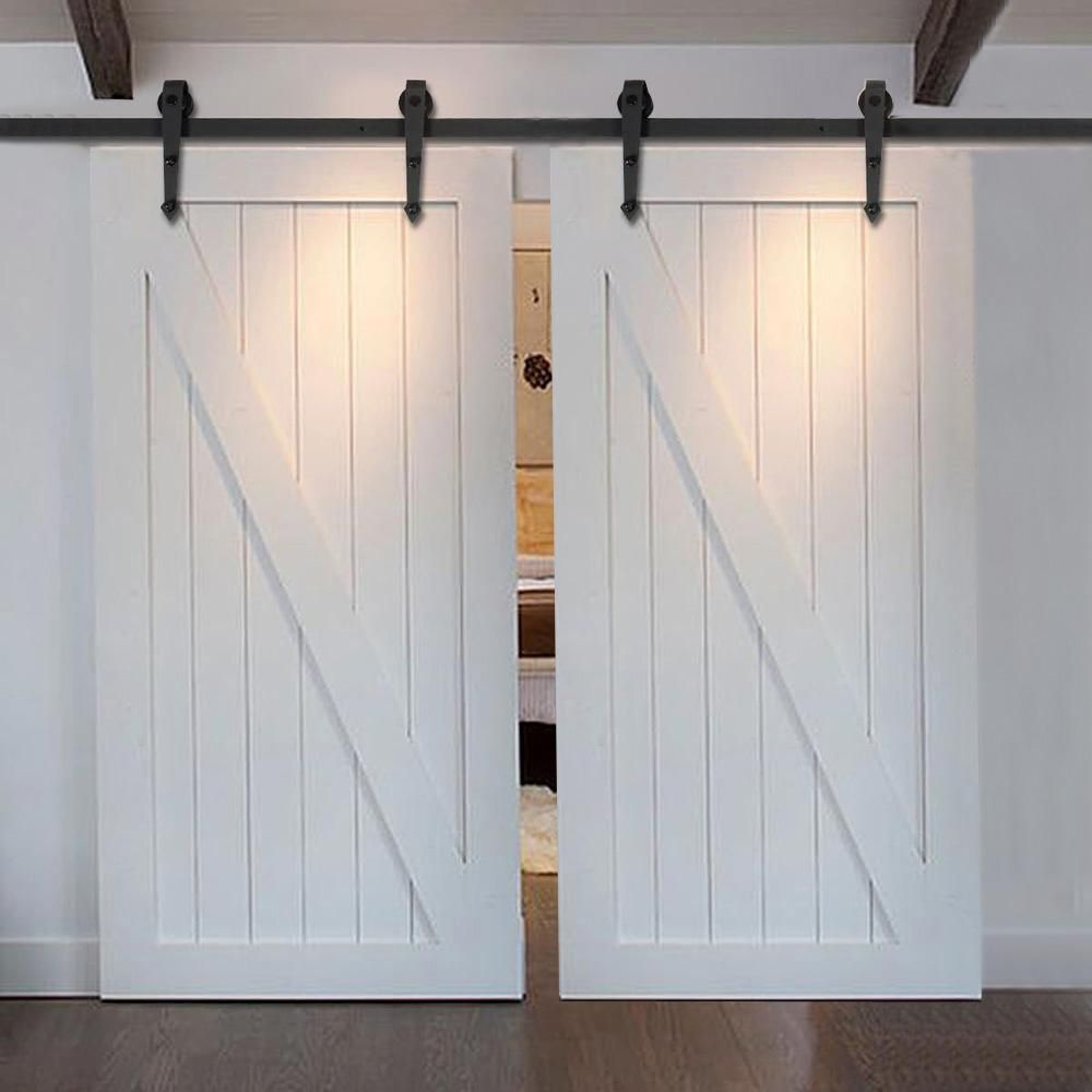 7 5ft Arrow Stylish Antique Black Wooden Double Sliding Barn Closet Door Heavy Duty Modern Wood Barn Door Closet Barn Doors Sliding Barn Door