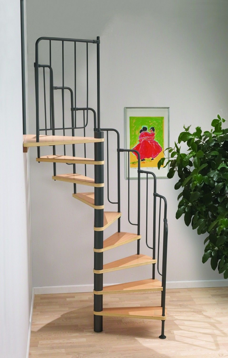 Dolle barcelona spiral stair kit with black metal work for Spiral stair design