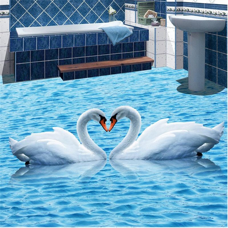 Floor painting HD blue water ripples swan Waterproof