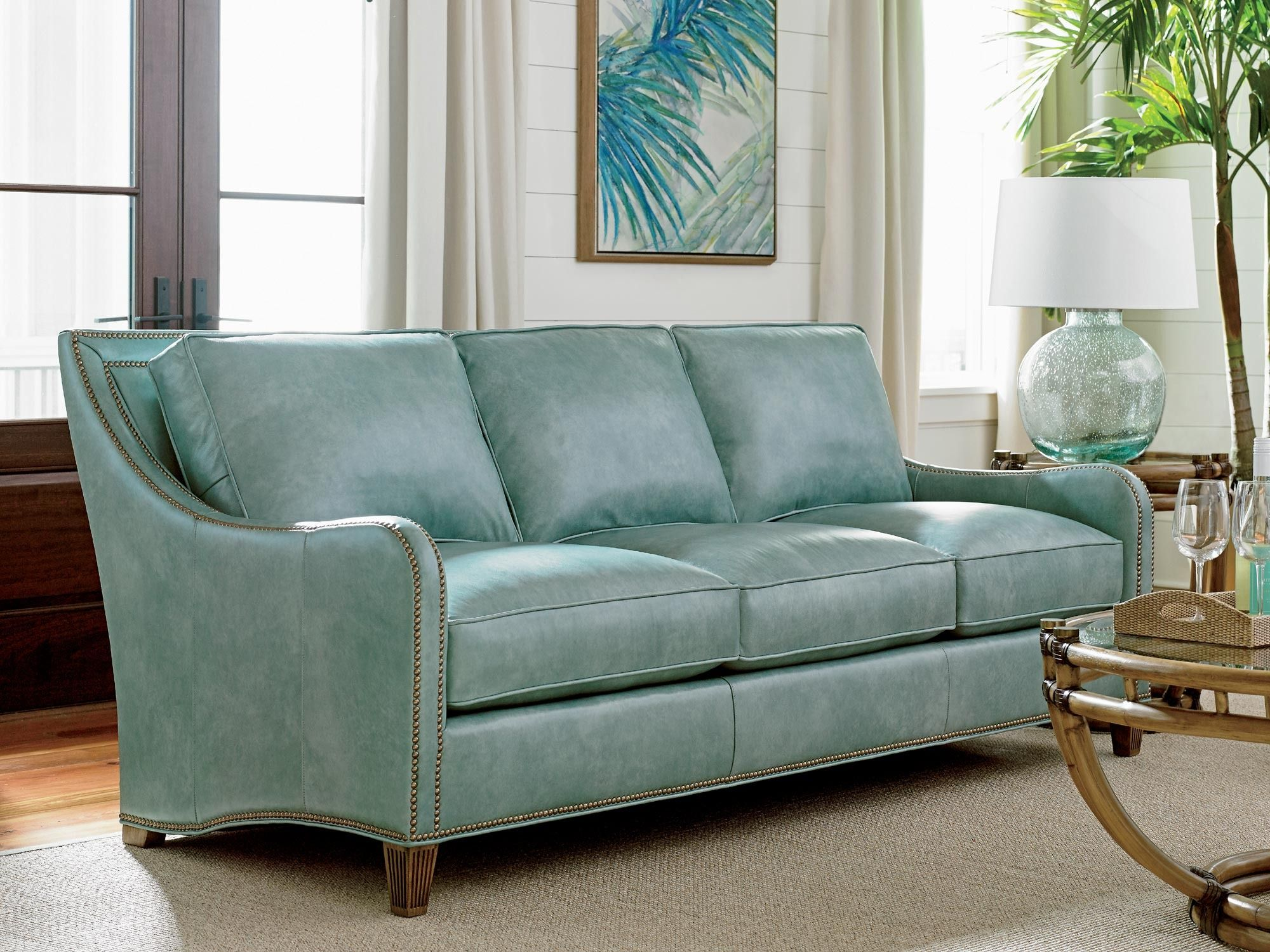 Twin Palms Koko Leather Sofa In Teal Tommy Bahama Home Home Gallery Stores Blue Leather Sofa Living Room Sets Furniture