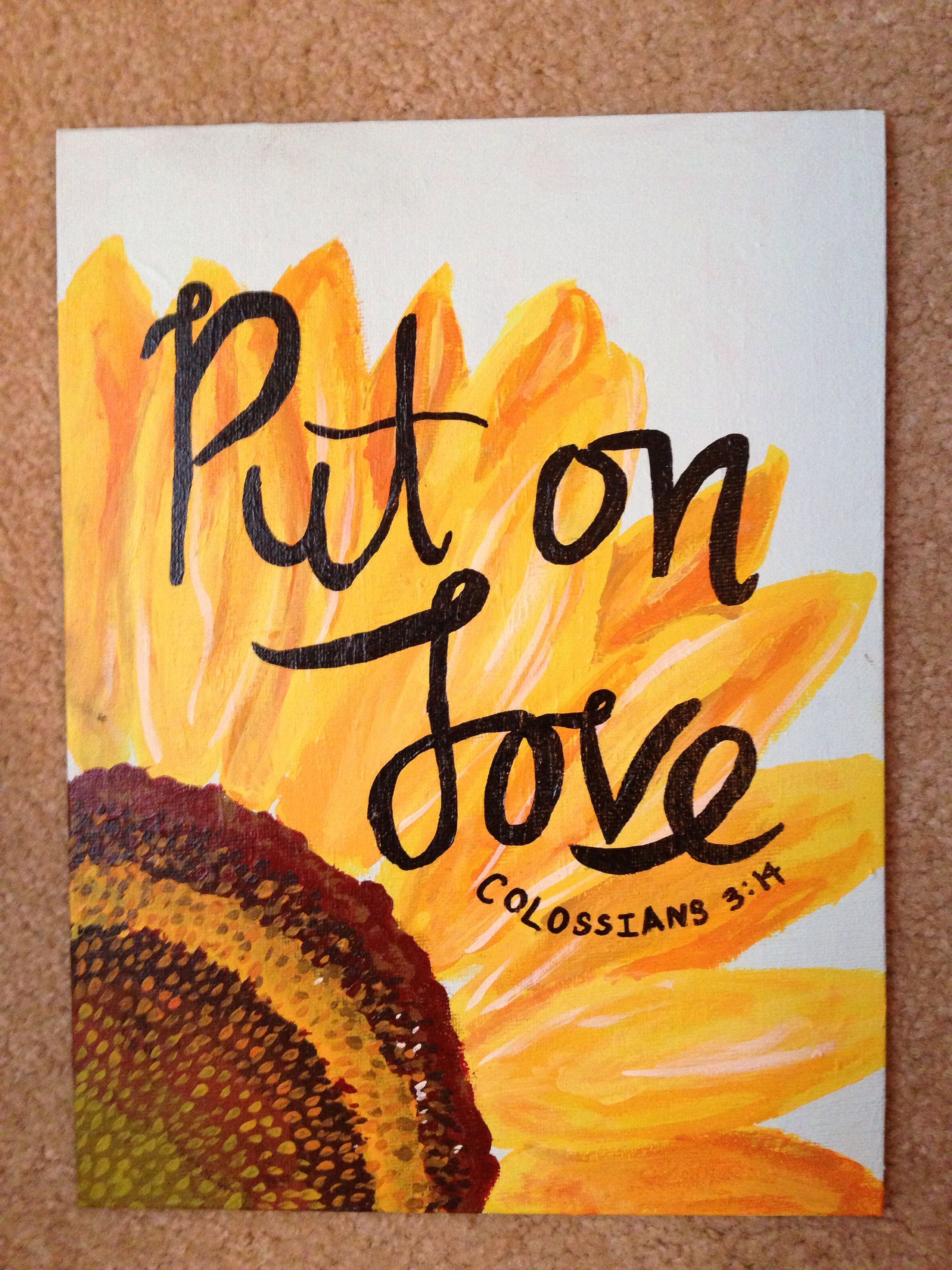 Colossians 3:14 canvas sunflower #sunflowerbedroomideas