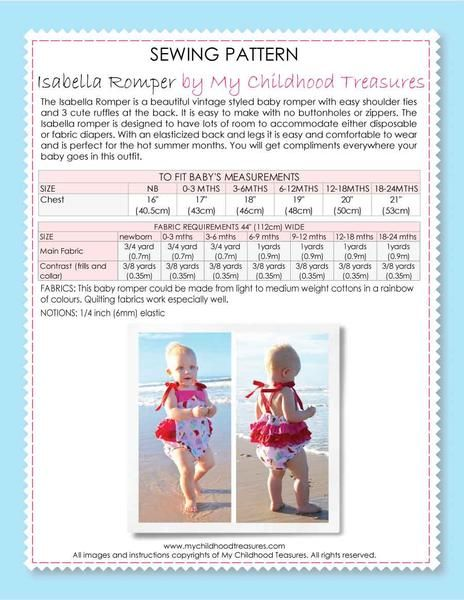 ISABELLA - Baby Ruffle Romper Sewing Pattern