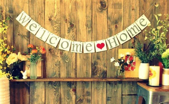 dekoration girlande zur party welcome home banner basteln pinterest girlanden party. Black Bedroom Furniture Sets. Home Design Ideas