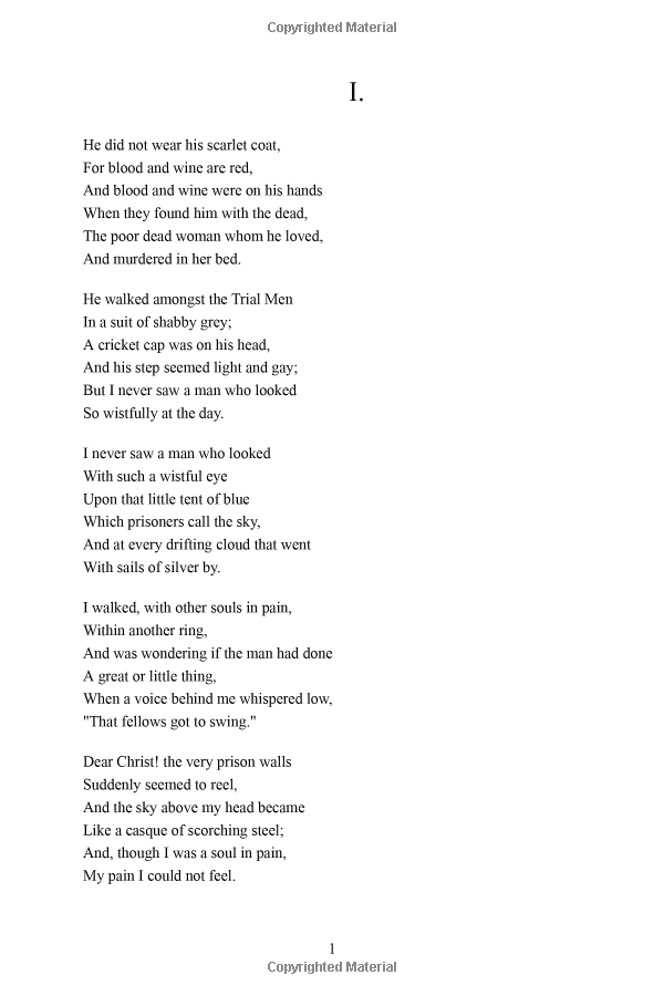Ballad Of Reading Gaol By Oscar Wilde Excerpt Poetry