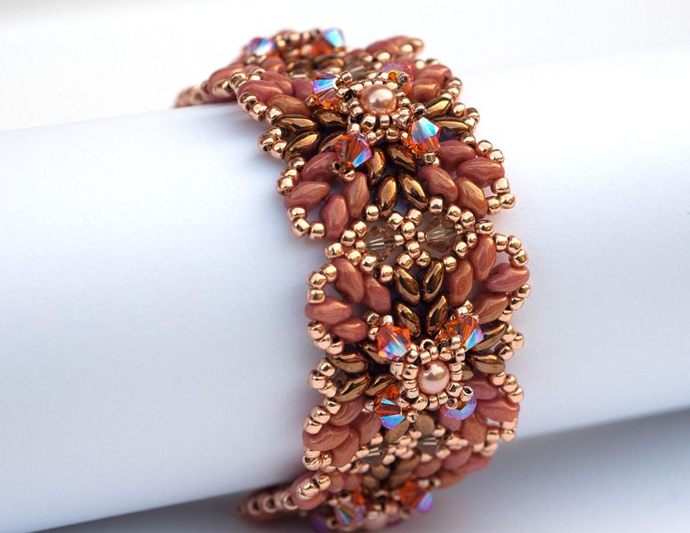 Armbänder - Glitzerarmband Inka in braun-orange-rot-gold - ein Designerstück von PrettyNett bei DaWanda