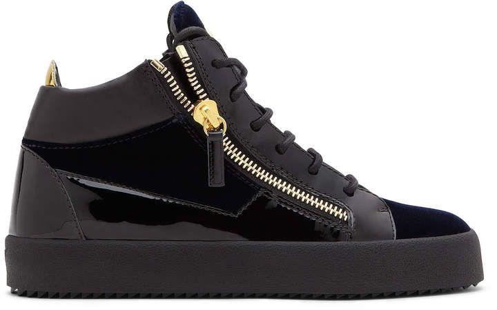 Giuseppe Zanotti KRISS! Dark blue velvet mid top sneaker
