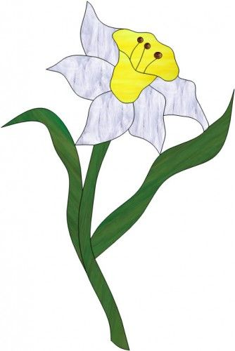 Stained Glass Daffodil Daffodil Birthmonth Flower For March Stained Glass Flowers Glass Flowers Art