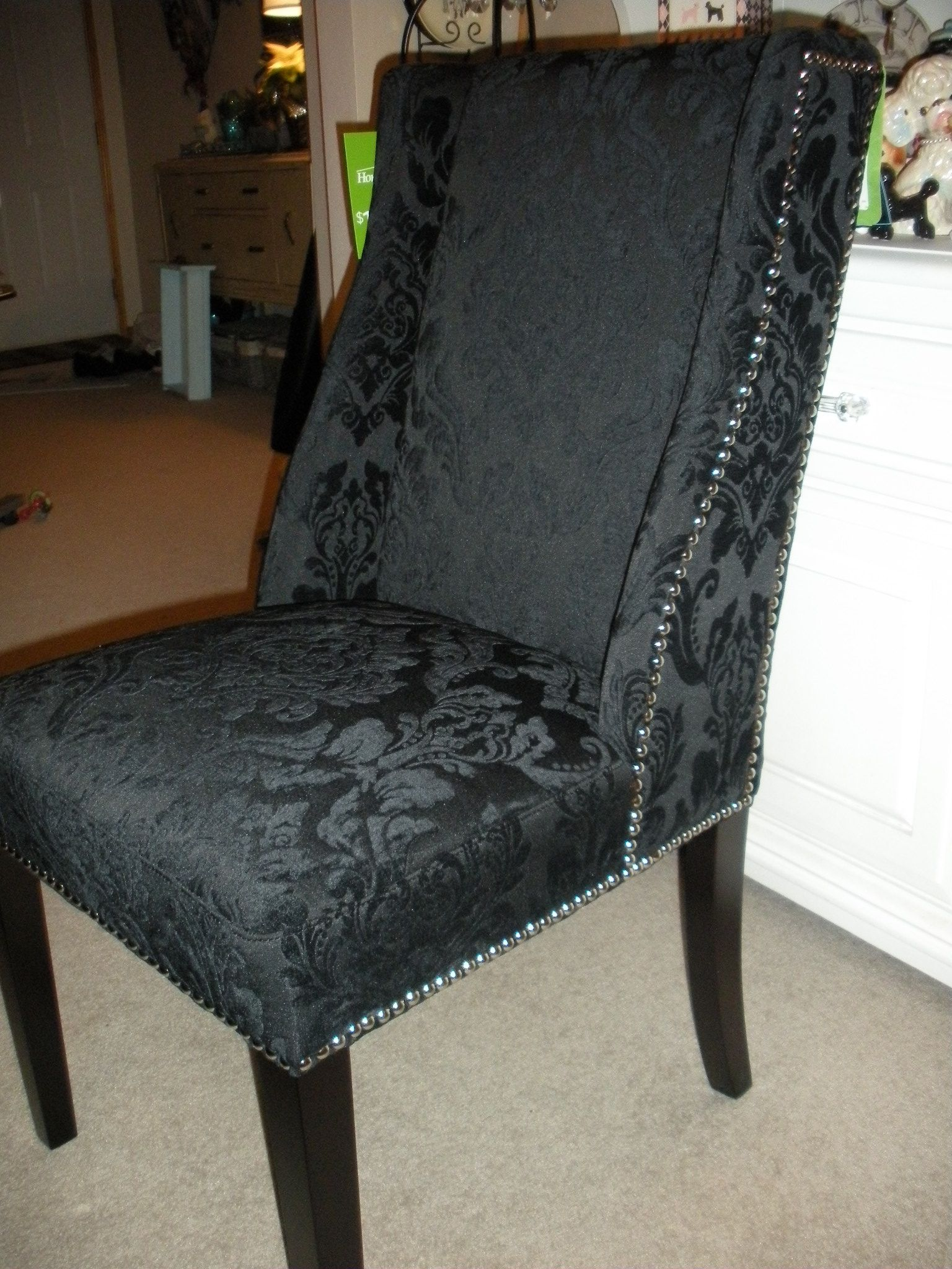 Found Two Cynthia Rowley Black Damask Dining Chairs With Silver