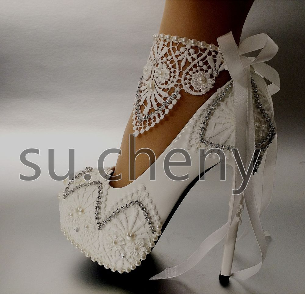 e0ff377c7fa3 High heel white light ivory lace platform ribbon ankle wedding shoes size 5 -10