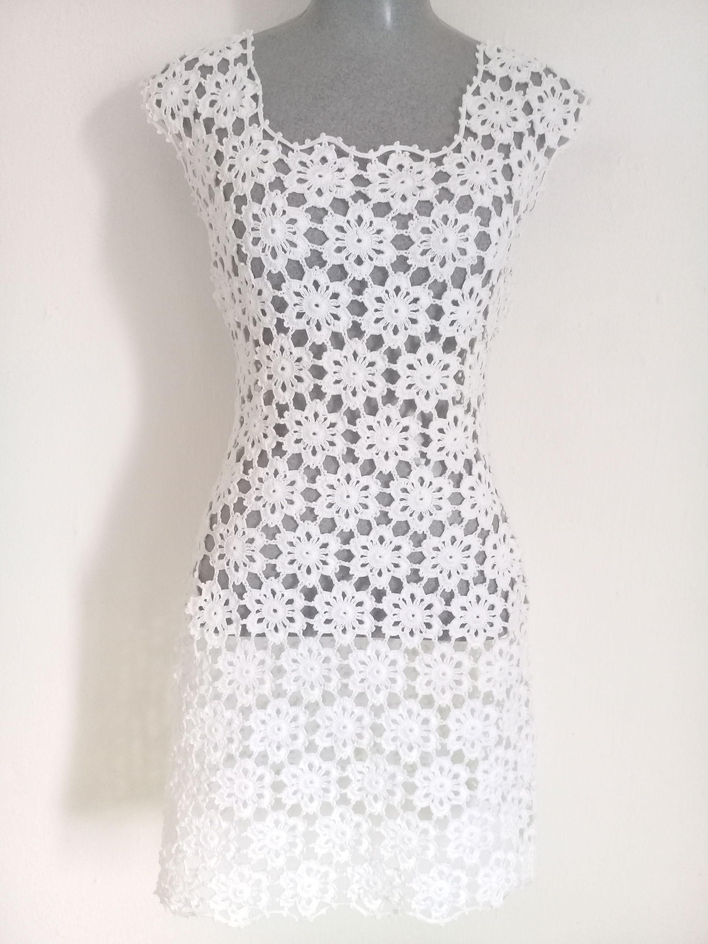 8fc2a23b4f71 Vestido Feminino Crochê Branco Curto Motivos Flores Vestido Croche  Casamento Vestido de Croche Curto Vestido Croche