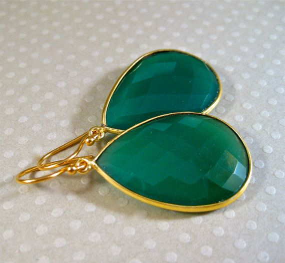 Emerald Green Earrings #etsy