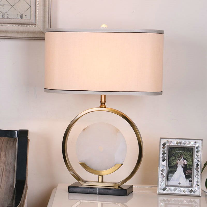 Contemporary Simple Table Lamp Bedroom Study Room Table Lamp Copper Jade Fixture Fabric Shade Desk Lamp Table Lamp Design Table Lamps For Bedroom Metal Desk Lamps