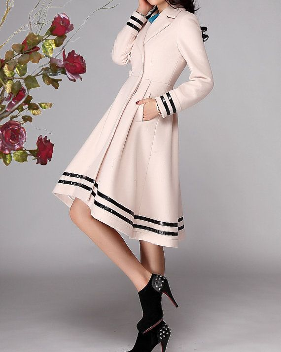 Rice-white cashmere dress coat big sweep women wool winter coat ...