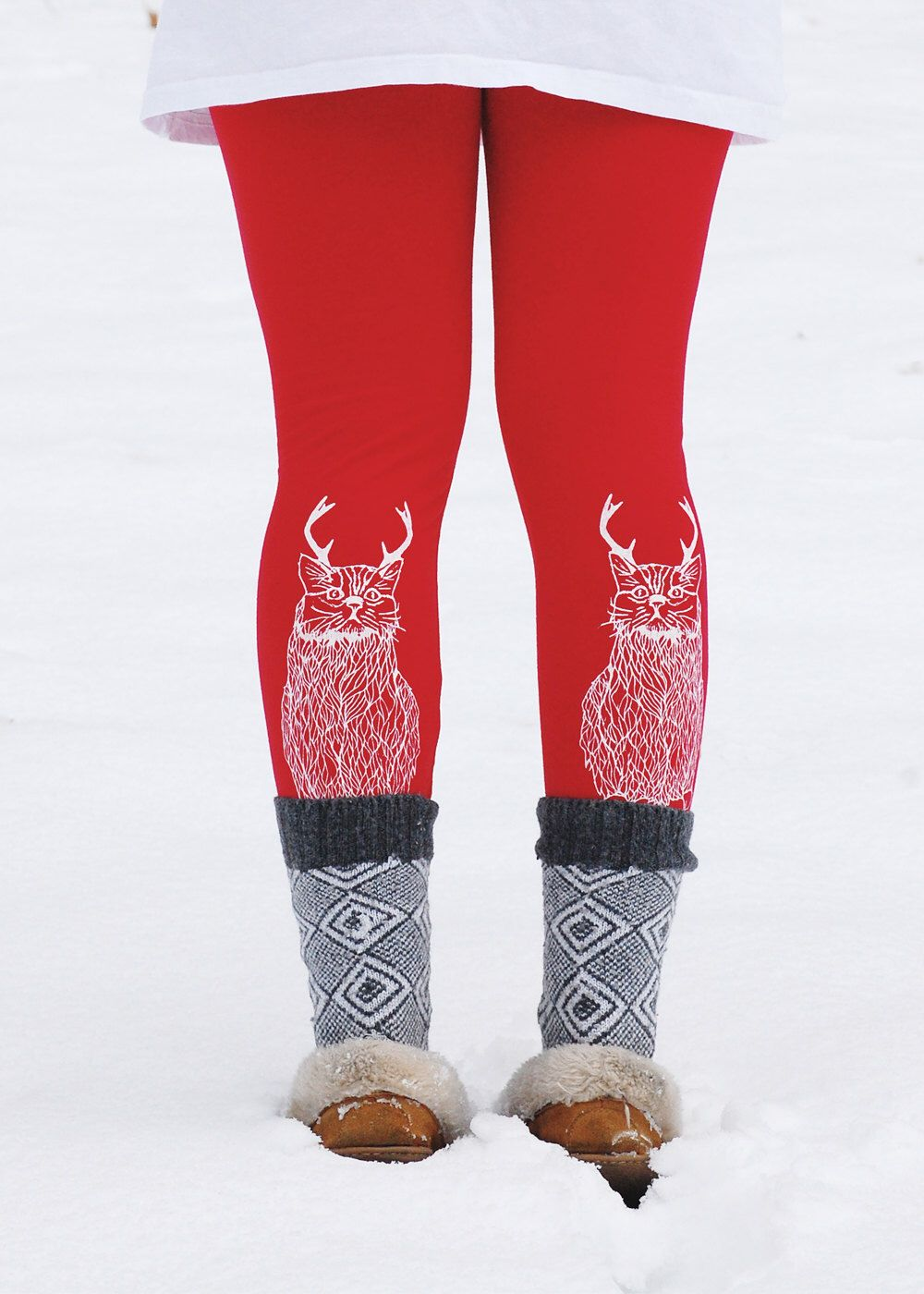 LIMITED EDITION RED Wild Catalope Leggings - ugly Christmas Leggings -  Jersey Spandex High Waist Cat
