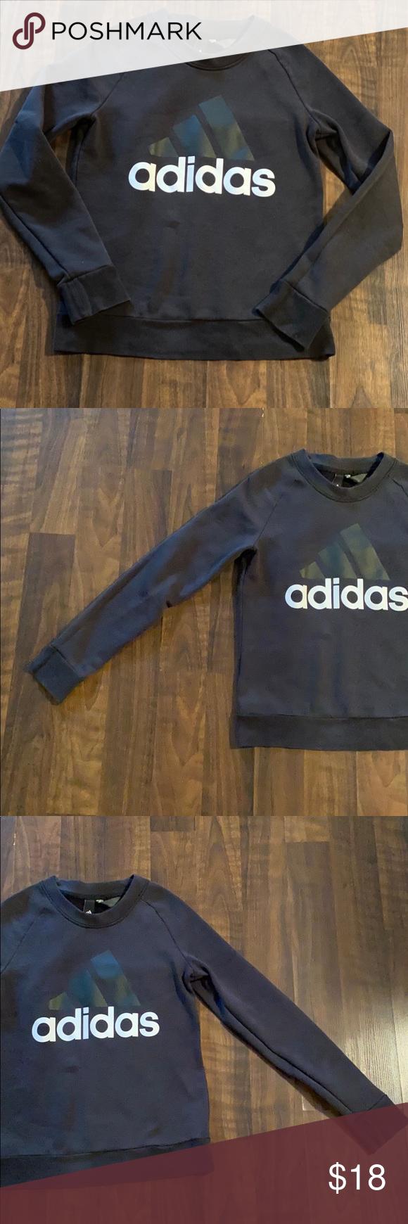 Women S Black Adidas Crew Neck Sweatshirt Medium Adidas Crew Neck Crew Neck Sweatshirt Black Adidas [ 1740 x 580 Pixel ]