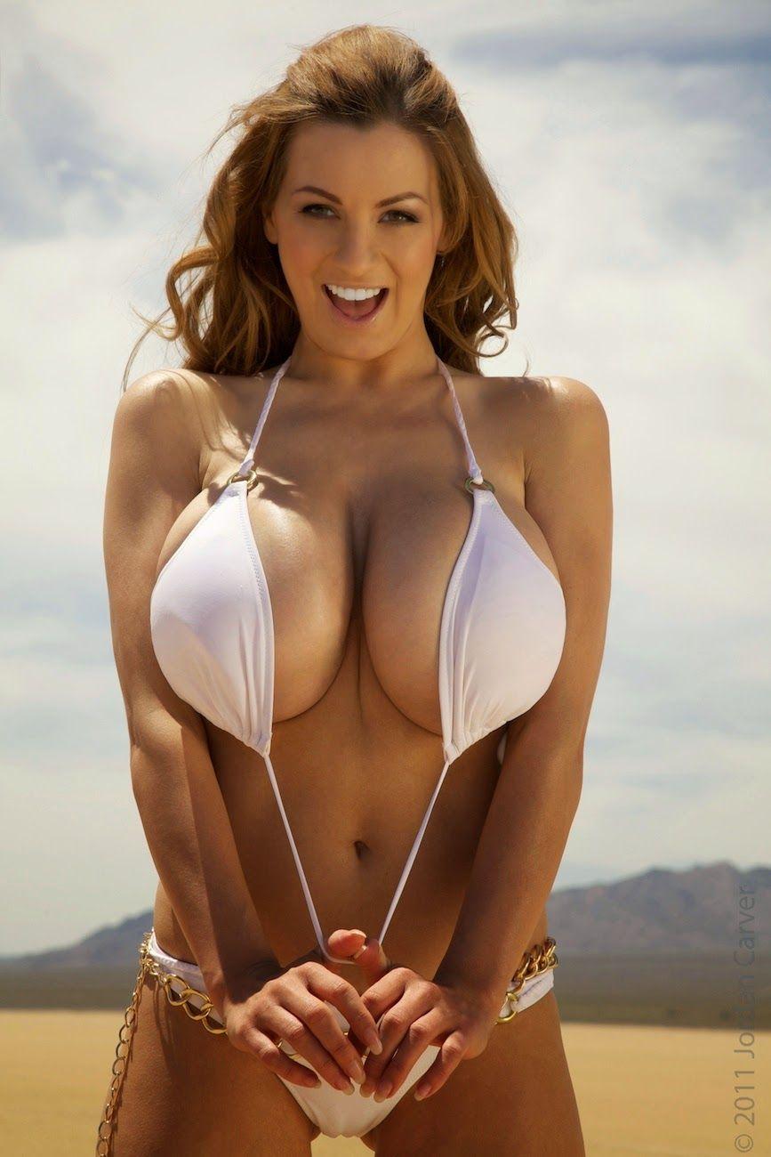 Big boobs white bikini