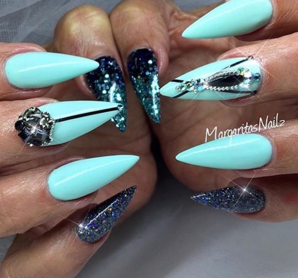 Custom pale blue and dark blue stiletto nails | Nails | Pinterest ...
