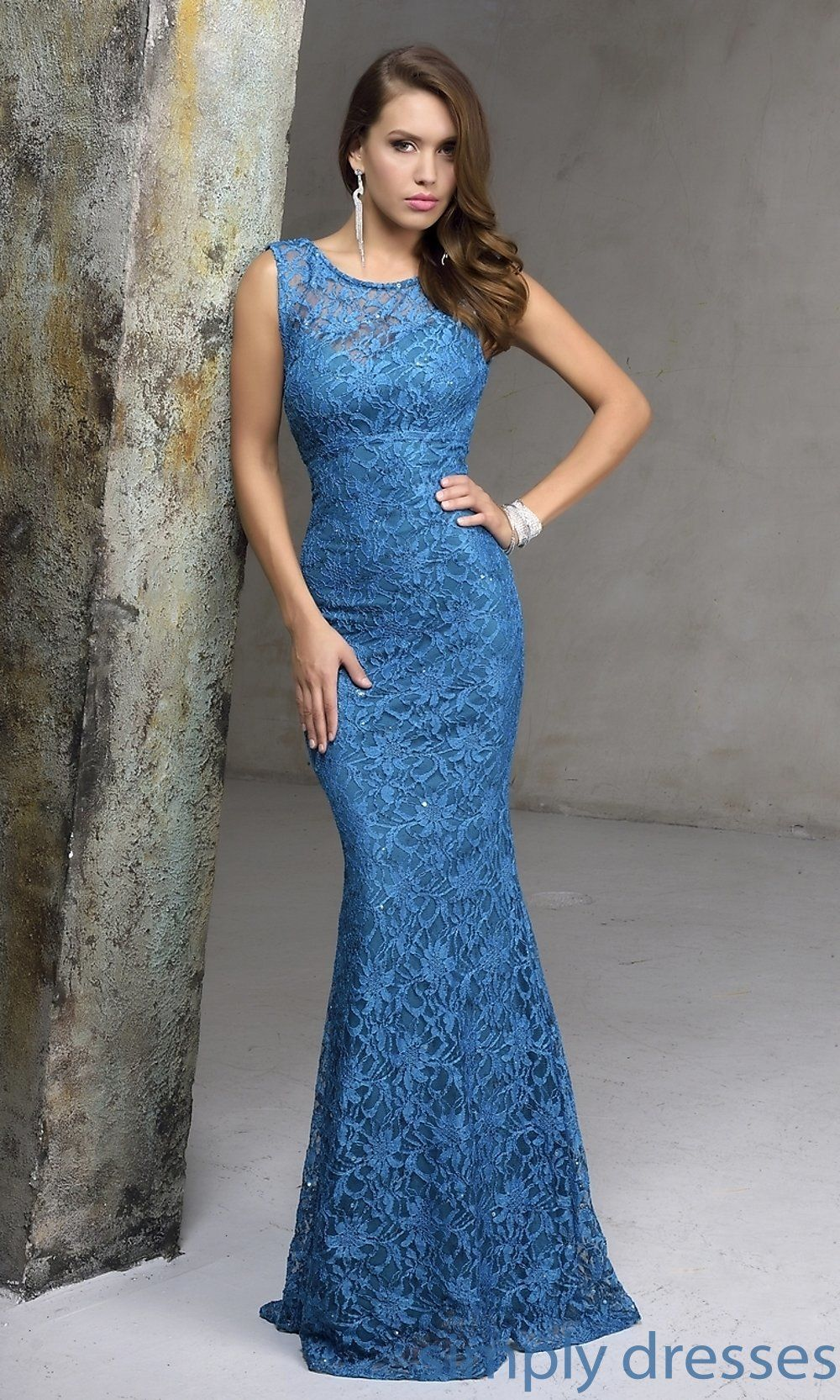Long Sleeveless Sequined Lace Formal Gown | My Future Closet ...