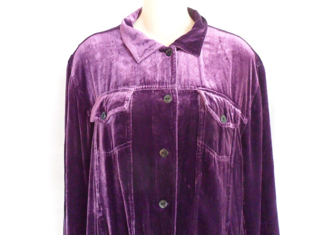 Chicos Velvety Button Down Shirt Or Jacket Lined Purple Size 2 EUC #Chicos #ButtonDownShirt #Casual