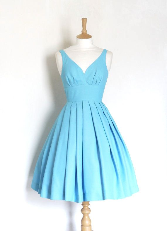 Sky Blue Crepe Sweetheart Prom Dress - Made by Dig For Victory